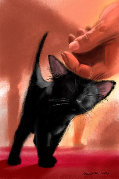 """Little Purrs"" Accepted by ~ JustGreg Digital Art / Drawings / Animals ©2007-2013 ~ JustGreg #black_cats"