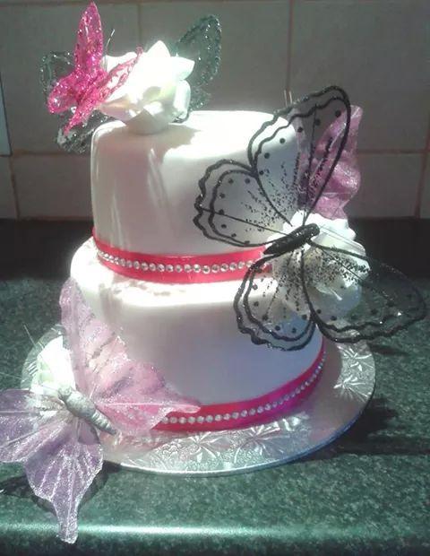 2 tier wedding butterfly