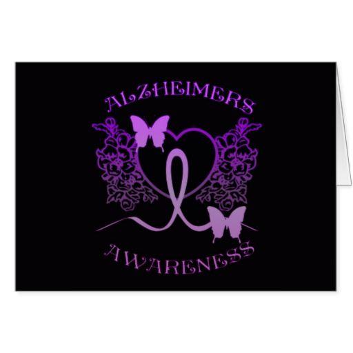 Alzheimers Awareness Purple Butterflies Card