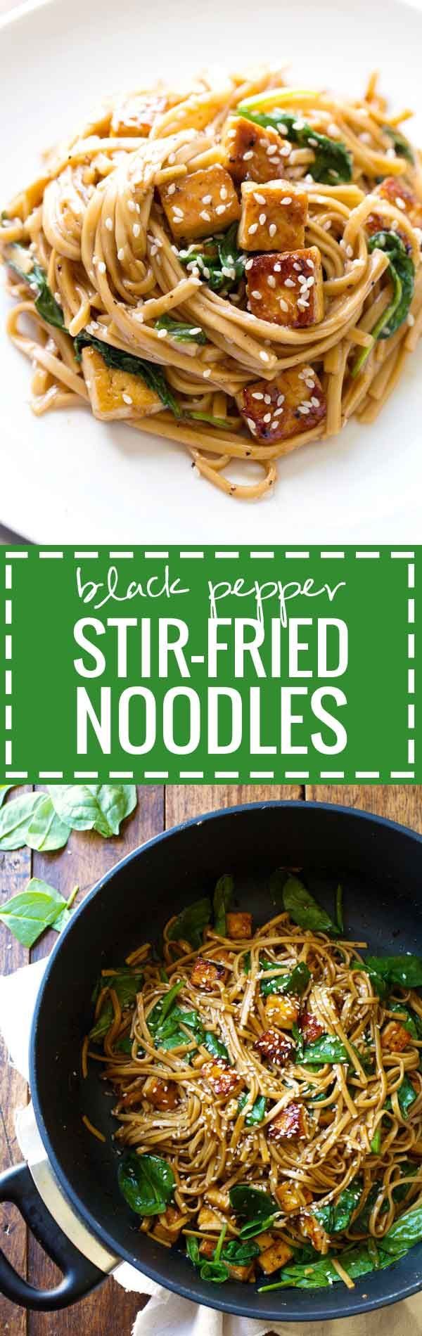 Black Pepper Stir Fried Noodles - this simple 30 minute stir fry is packed with AMAZING flavor! | pinchofyum.com