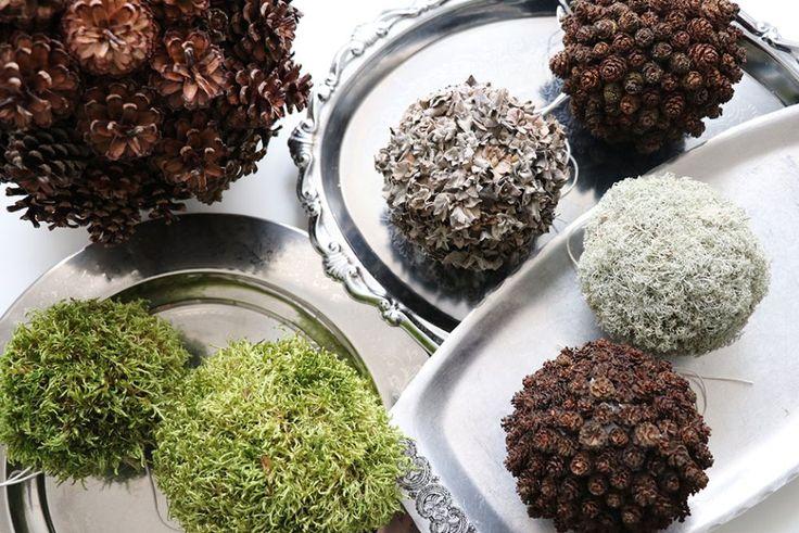 Julepynt af mosbolde, ellekogler og andre naturmaterialer DIY - byDuhn