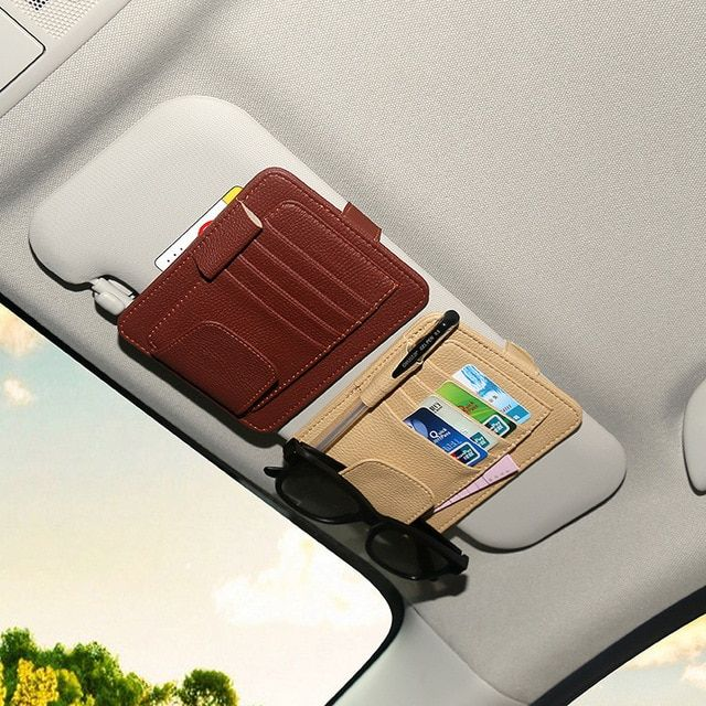 Grey Tidy Leather Car Auto Sunshade Cover Card Sun Visor CD Holder Organizer