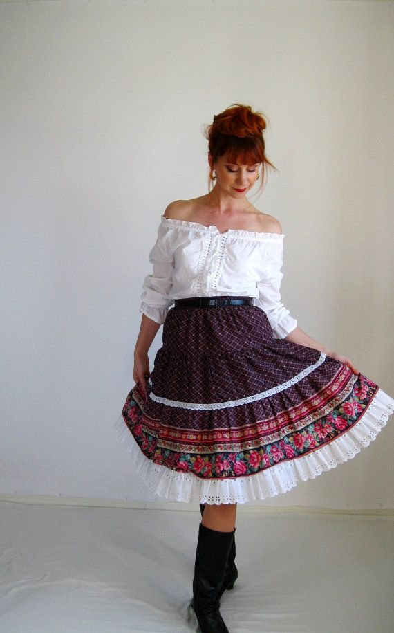 Sale 1970s Skirt Brown Pink Boho Folk Gypsy Spring by gogovintage, $32.00