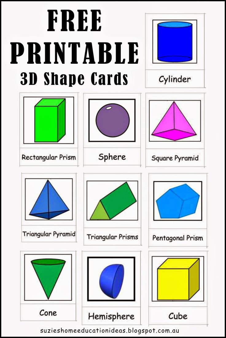 Exploring 3D Shapes - Free printable 3D Shape Cards                                                                                                                                                                                 More