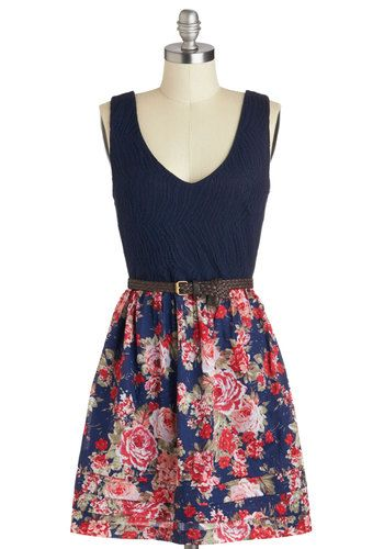 Right On Barbecue Dress - Blue, Multi, Floral, Belted, Casual, A-line, Tank top (2 thick straps), V Neck, Crochet, Twofer, Summer, Cotton