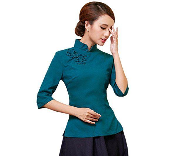 ACVIP Damen Reine Farbe Sieben Punkten Ärmel Klassisch Cheongsam Bluse (EU  36  Chinese M 439a1e7ab0