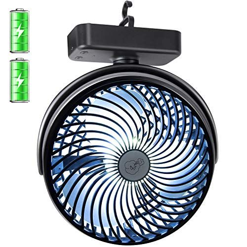 REENUO 7 Inch Camping Fan with Led Lights Portable 4400mAh