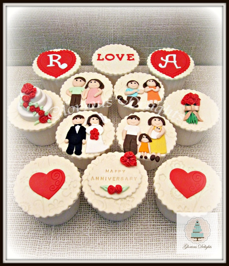 Wedding Anniversary cupcakes - A love Story! ;)