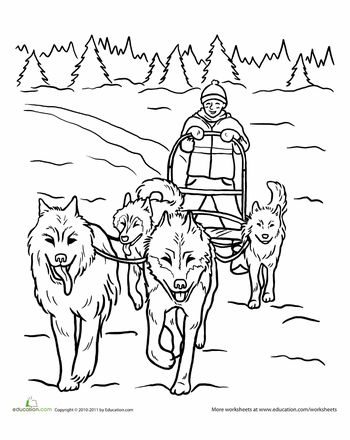 Worksheets: Life Skills Lesson: Teamwork...Dog Sled Coloring Page