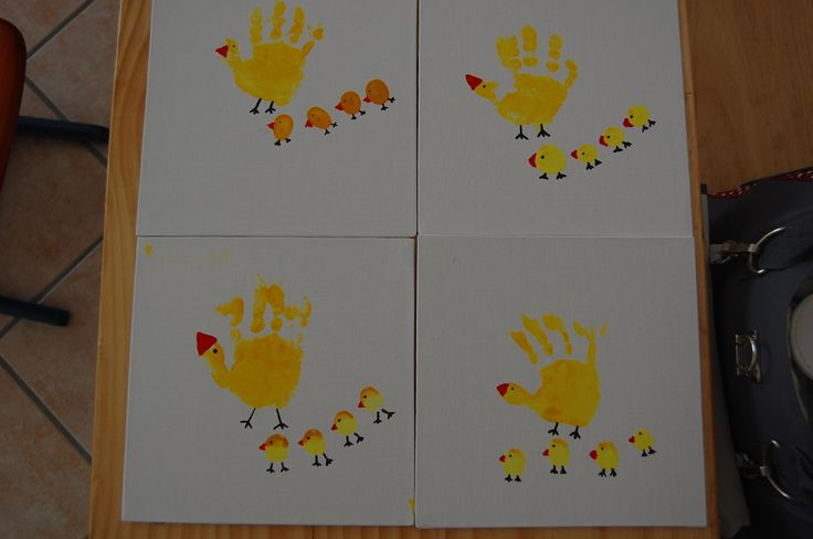 Handprint easter with toddler and Fingerprints
