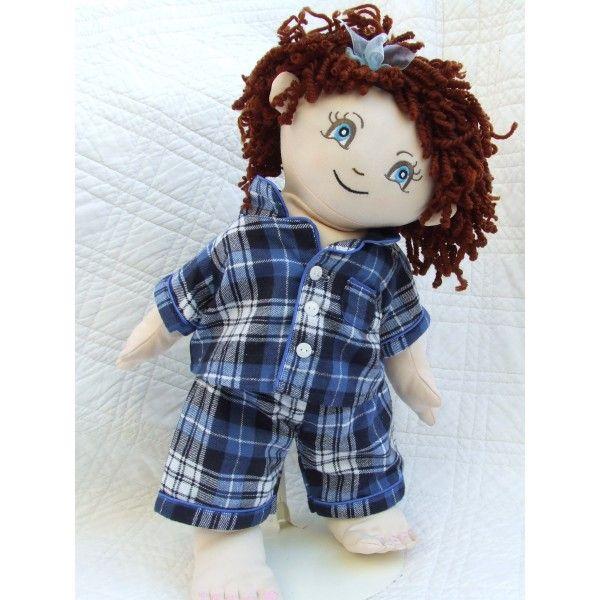 "Cuddly 18"" Girl Rag Doll In Blue Tartan Pyjamas"