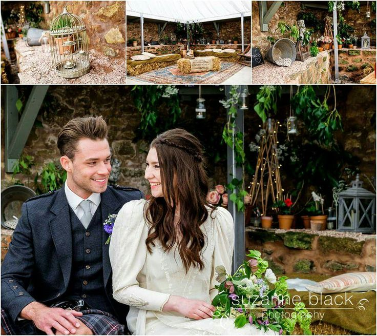Informal wedding seating area. Straw bales. Hidden garden. Barn marquee. Scottish wedding. Rustic wedding. Whimsical garden wedding. Styling by Through the looking Glass Scotland. @2thlookingglass.  Suzanne Black photography.