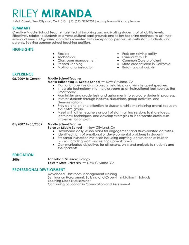 49+ Resume for teacher job with experience trends