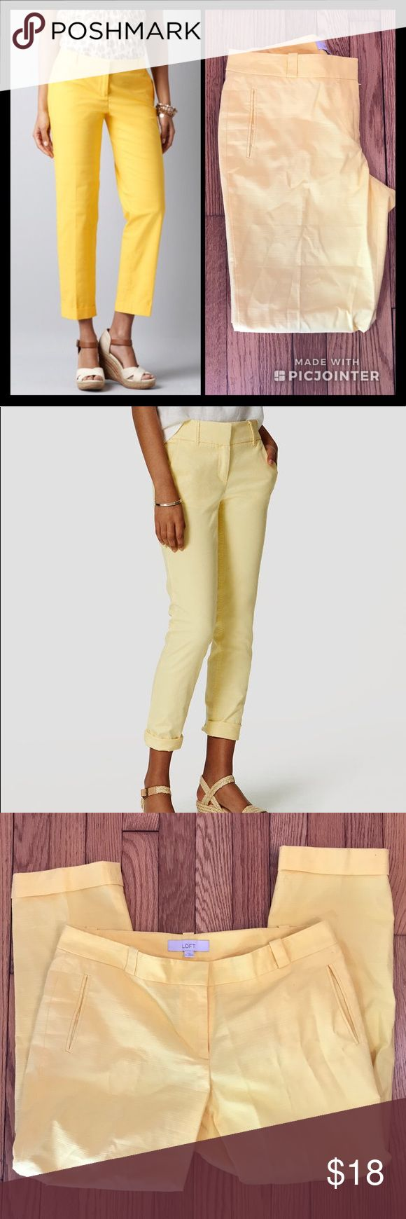 Ann Taylor LOFT Cropped Skinny Chino (Size 8) Adorable canary yellow cropped chino pants by Ann Taylor LOFT in Size 8. These fun, bright pants are perfect for when the weather turns warm! Material is 98% cotton and 2% spandex. Rolled cuff at bottom, front slash pockets, belt loops, and back welt pockets. Excellent condition. Dry clean only. Inseam length is 25 inches. Rise length is 12 inches. Color is best represented by model picture in cover photo (bright canary yellow). LOFT Pants Ankle…