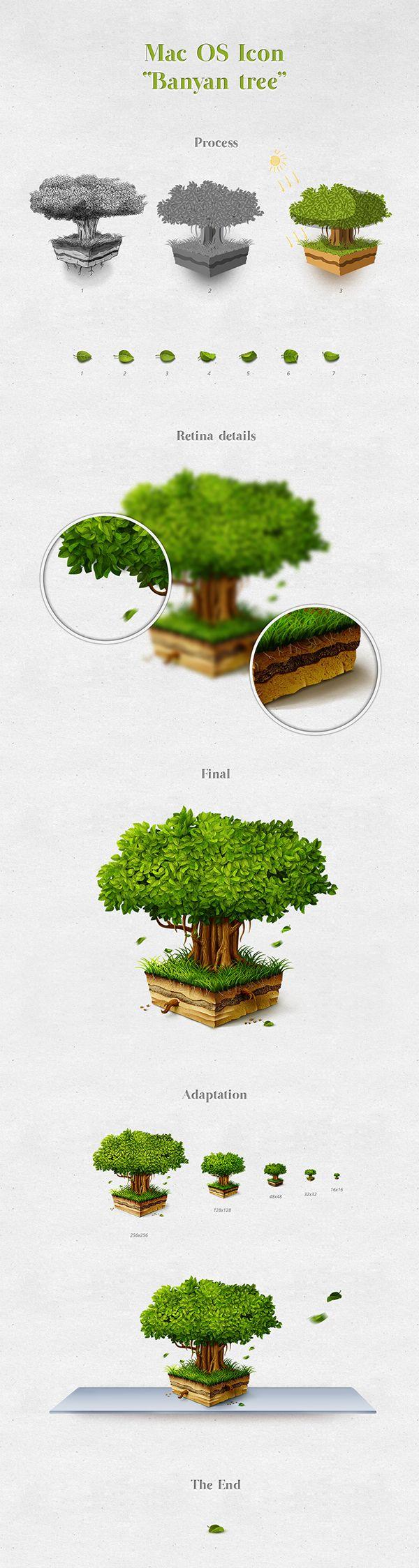 Banyan Tree Mac OS icon by Roman Dosyn, via Behance