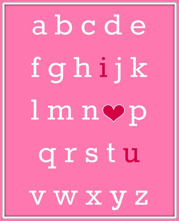 Valentine's Day ABC I Love You Free Printable