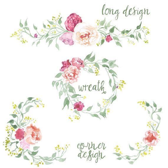 Watercolor Valentine's Day Flower Clipart by DigitalPressCreation