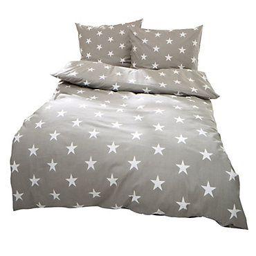 Bettwäsche Sterne hellgrau 135x200 cm, Kissenbezug 80x80 cm | weltbild.de