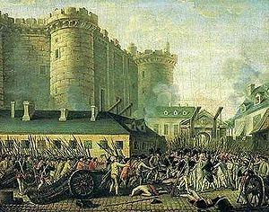 Prise de la Bastille: le 14 juillet 1789, la forteresse de la Bastille, prison d'Etat depuis le règne de Louis XIII, fut prise d'assaut et incendiée par le peuple par le peuple de Paris; 2 jours plus tard, l'Assemblée nationale en décidait la démolition.- Le 14 juillet 1789, la foule parisienne, après avoir pillé les armuriers et l'hôtel des Invalides, marche sur la Bastille pour se faire livrer également des armes.