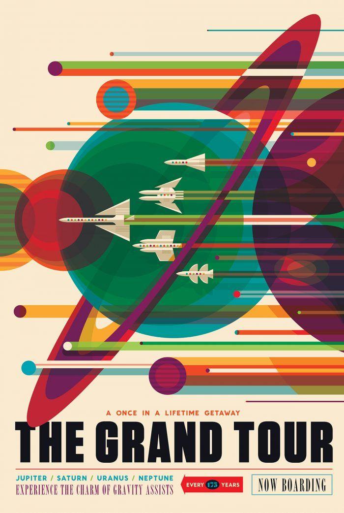 """Pôsteres com estilo retrô baseados nas previsões da NASA - A Jet Propulsion Laboratory, uma divisão da NASA, criou uma série de cartazes com um estilo retrô mostrando como seriam possíveis """"pacotes turísticos"""" no futuro."""