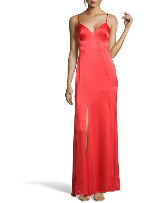 WYATT Flame Red Sateen 'car Wash'  Slit Slip Evening Gown ORIGINAL PRICE$368 #Wyatt #BallGown #Formal