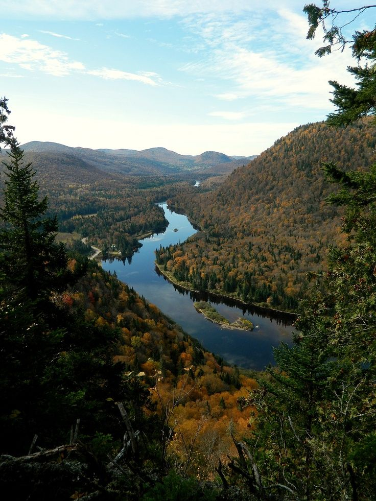 Jacques-Cartier River the province of Quebec, Canada. The river is 100 miles long and flows southerly into the Saint Lawrence River.
