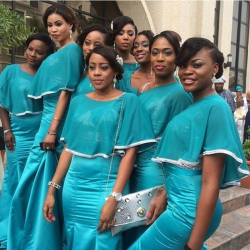 Capes are in, hopefully see more stylish ways to wear it in 2015 ! Repost @aprilbykunbi #NWbms #Bridesmaids #NigerianWedding