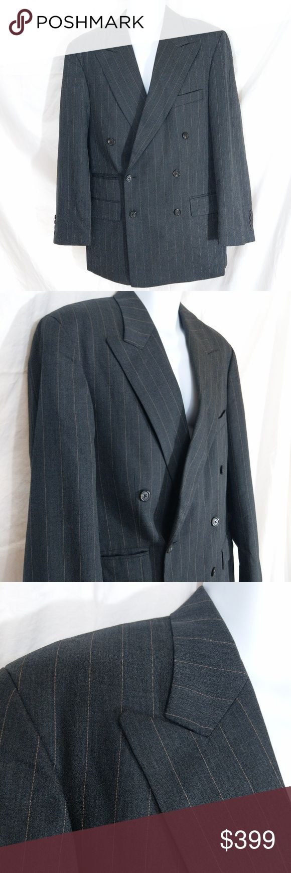 Ralph Ralph Lauren Chalk Stripe Wool Suit Jacket Grey Ralph Ralph Lauren double-breasted chalk stripe wool suit jacket is NWOT and features peak lapels, buttonhole at left lapel, contrasting undercollar, cuffs with 4 decorative buttons, 2 front waist flapped pockets, right hip ticket pocket, left chest welt pocket, and 2 interior chest pockets. Double vent, fully lined. 100% pure new wool. Tag says 39R. Please consult pictures for more/better description. Measurements upon request. Made in…