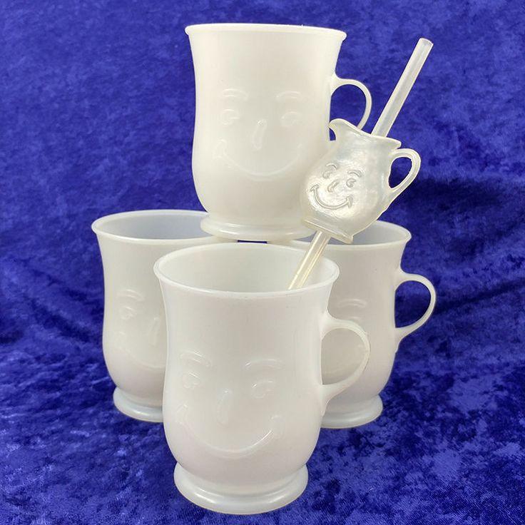 Kool-Aid Vintage Set of 4 Smiley Face White Mugs Cups and 1 Kool-Aid Man Straw #KoolAid