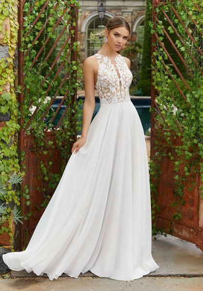 Blu by Morilee 5703 A-line Wedding Dress Polina Illusion Lace Bodice Chiffon