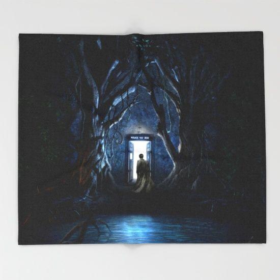 Doors Of Tardis Throw Blanket