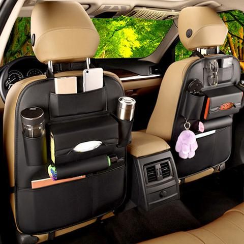 Faux Leather Car Back Seat Organizer