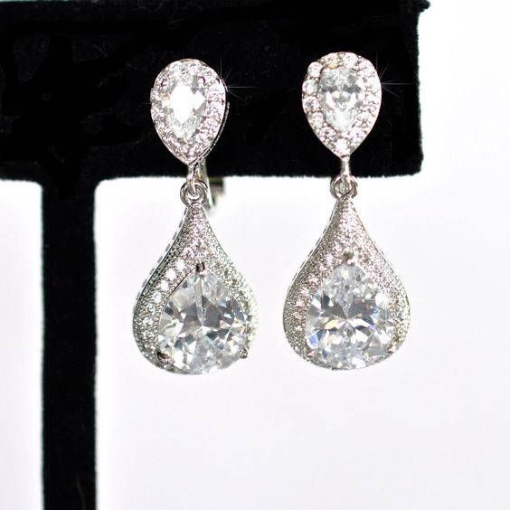 Handmade Pear Cubic Zirconia CZ Waterdrop Dangle Clip-On