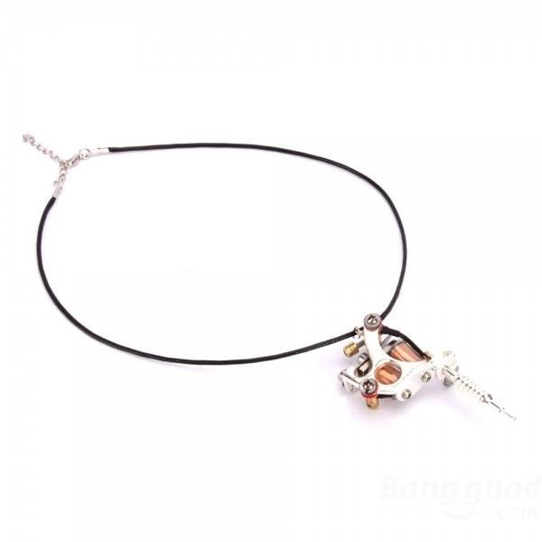 Silver GS100 Fashion Mini Tattoo Machine Pendant Toy with Chain Necklace at Banggood