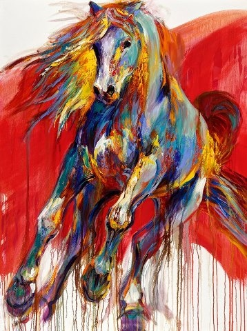 Beautiful rendition of a horse. Lovely color, movement and very interesting use of negative space. Barbara Meikle Fine Art..