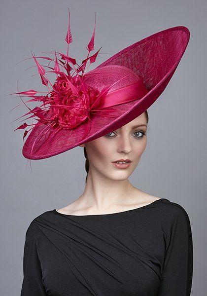 R1774 - Deep pink fine straw sweep hat with roses and arrow feathers