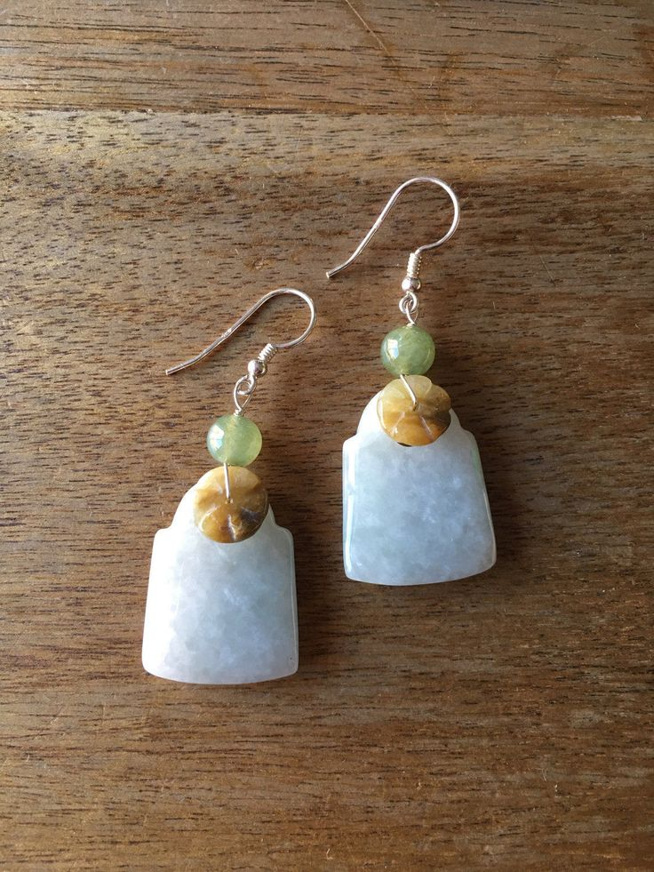 Jade Earrings - Genuine Natural Colour Jade 925 Sterling Silver Earrings by RitaCollection on Etsy