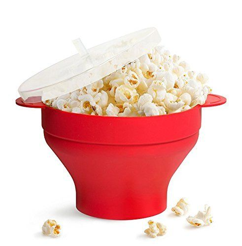 Hippih Popcorn Popper with Hot Air Collapsible Microwave Bowl in Red with Handles BMH001