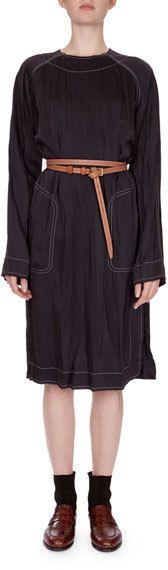 Loewe Topstitched Tunic Dress w/Belt
