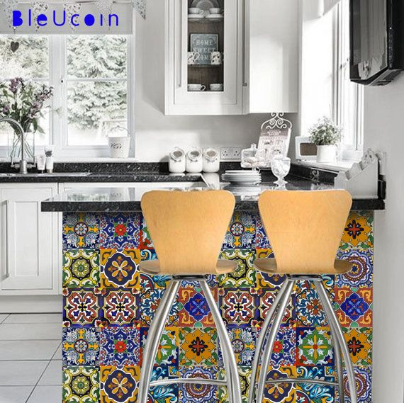 Mexican Talavera tile/wall/stairs/cabinet/Floor decal: Mexican Talavera is a well known handicraft of Mexico. Taking the inspiration from hand painted tiles & Mexican color palette we have created a wide range of tiles to mix and match for your kitchen corners or bathroom interior! O R D E R . P A C K . I N C L U D E S QUANTITY : 11 designs x 4 sets = 44 tile decals SIZE : You can select the size from right side- size drop down button. In case you need a custo...