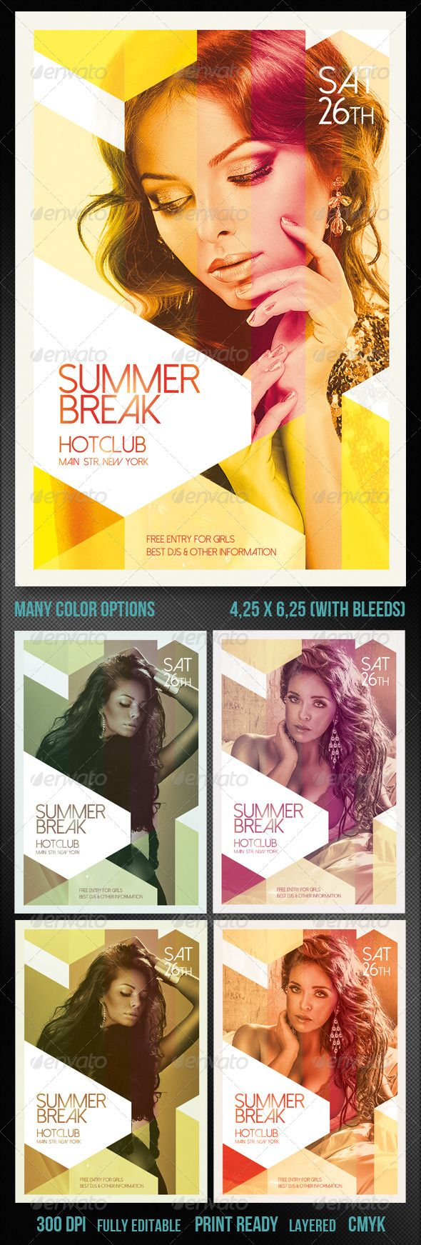 Spring Break/Summer Party Flyer — Photoshop PSD #event #club • Available her…