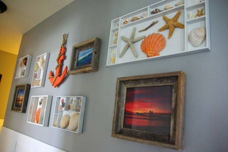 Project reveal, shell display/ coastal gallery wall. Using Melissa and Doug toy…