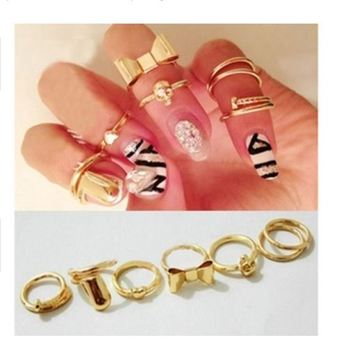 Chic Style Heart & Bowknot & Skull & Round & Nail Shape Women's Knuckle Ring 7Pc #Unbranded