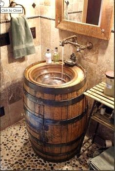 Whiskey Barrels ~ Sink / Vanity with wall-mount faucets