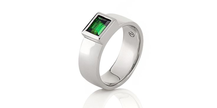 white gold green tourmaline bespoke ring