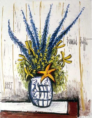 Le grand bouquet by Bernard Buffet, 1995, oil on canvas | Opera Gallery Singapore Ion