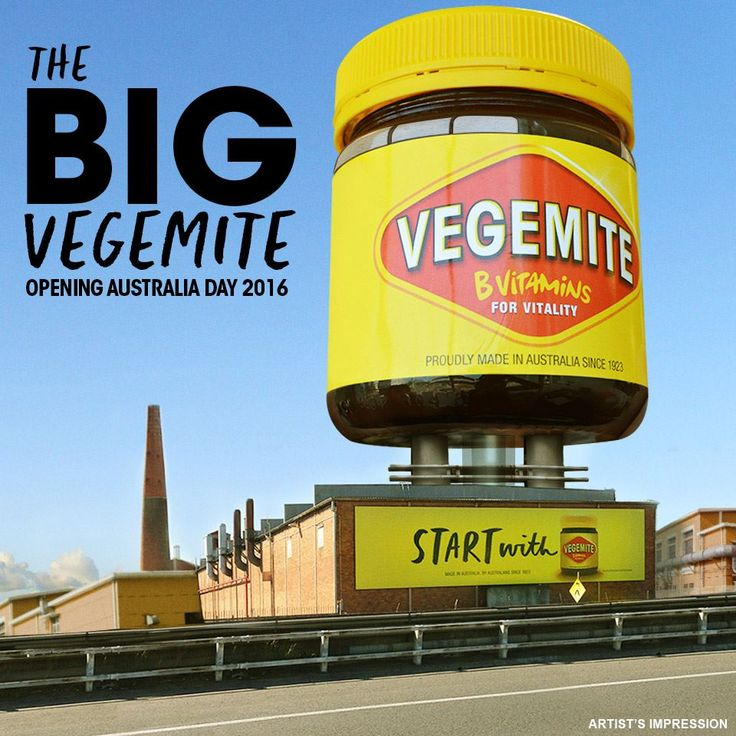 "VEGEMITE museum in the shape of the iconic jar. Opening Australia Day 2016, The Big VEGEMITE Jar will be located at the ""Home of VEGEMITE"", its production factory in Port Melbourne. Housing a five-story museum, the eye-catching sculpture will be visible in the Melbourne skyline."