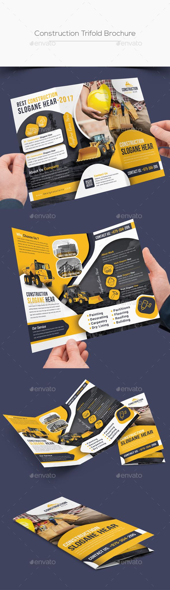 Construction Trifold Brochure Template PSD