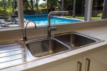 Sink. Modern kitchen. Pool view. Filter tap. www.thekitchendesigncentre.com.au