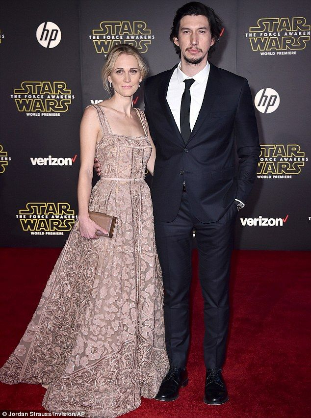 Ren and shrimpy: Adam Driver and wife Joanne Tucker were surely having a great time at the Star Wars: The Force Awakens premiere in Hollywood on Monday